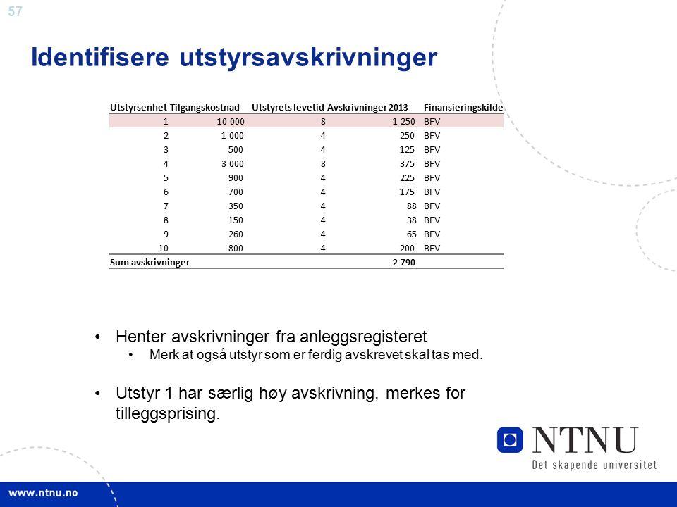 57 Identifisere utstyrsavskrivninger UtstyrsenhetTilgangskostnadUtstyrets levetidAvskrivninger 2013Finansieringskilde 1 10 0008 1 250BFV 2 1 0004 250B