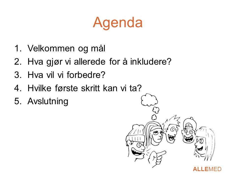 Agenda 1.Velkommen og mål 2.Hva gjør vi allerede for å inkludere? 3.Hva vil vi forbedre? 4.Hvilke første skritt kan vi ta? 5.Avslutning