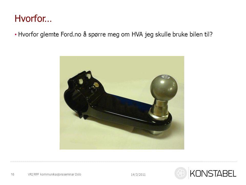 Hvorfor… Hvorfor glemte Ford.no å spørre meg om HVA jeg skulle bruke bilen til? 14/3/2011 16VRI/RFF kommunikasjonsseminar Oslo