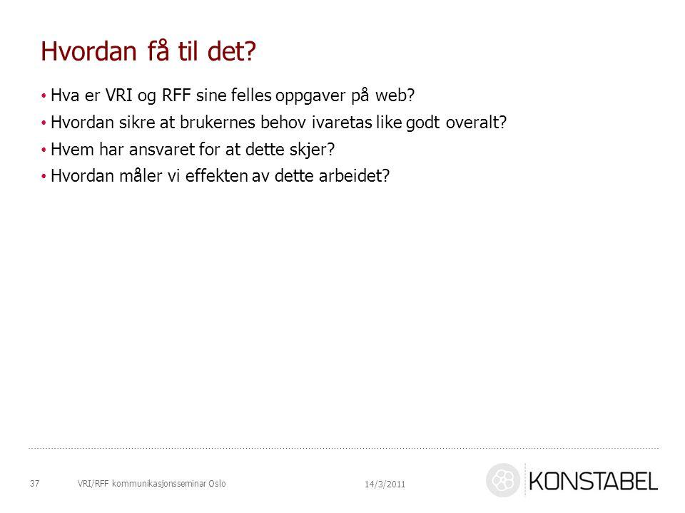 VRI/RFF kommunikasjonsseminar Oslo Hvordan få til det? Hva er VRI og RFF sine felles oppgaver på web? Hvordan sikre at brukernes behov ivaretas like g