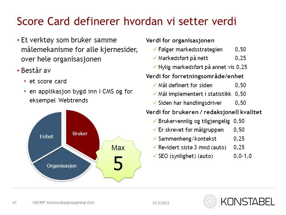 Score Card definerer hvordan vi setter verdi Et verktøy som bruker samme målemekanisme for alle kjernesider, over hele organisasjonen Består av et sco