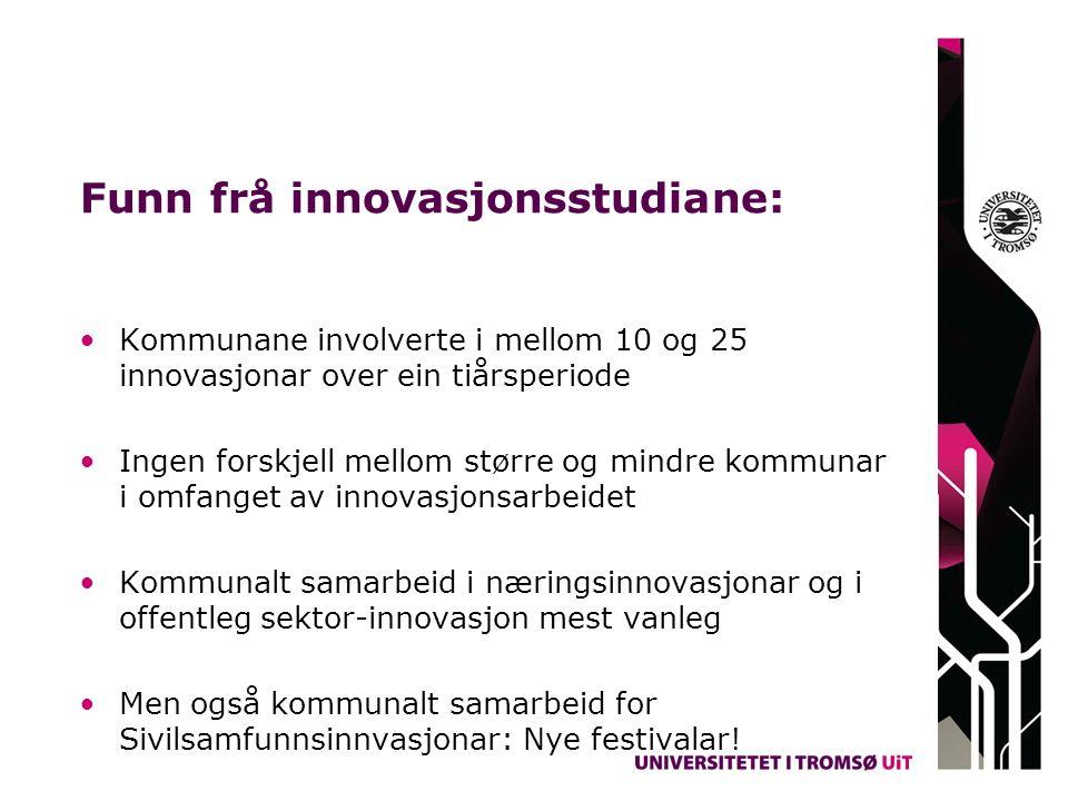 Funn frå innovasjonsstudiane: Kommunane involverte i mellom 10 og 25 innovasjonar over ein tiårsperiode Ingen forskjell mellom større og mindre kommun