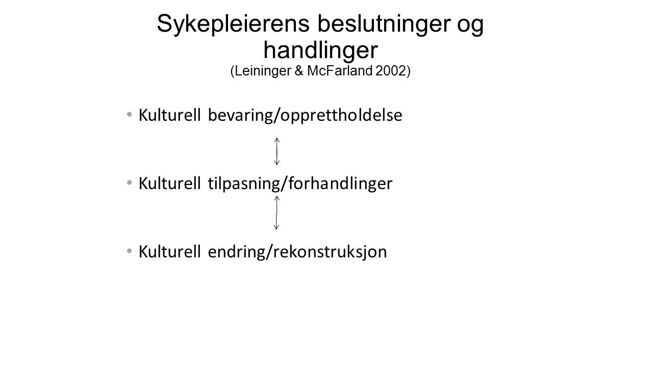 Sykepleierens beslutninger og handlinger (Leininger & McFarland 2002) Kulturell bevaring/opprettholdelse Kulturell tilpasning/forhandlinger Kulturell endring/rekonstruksjon