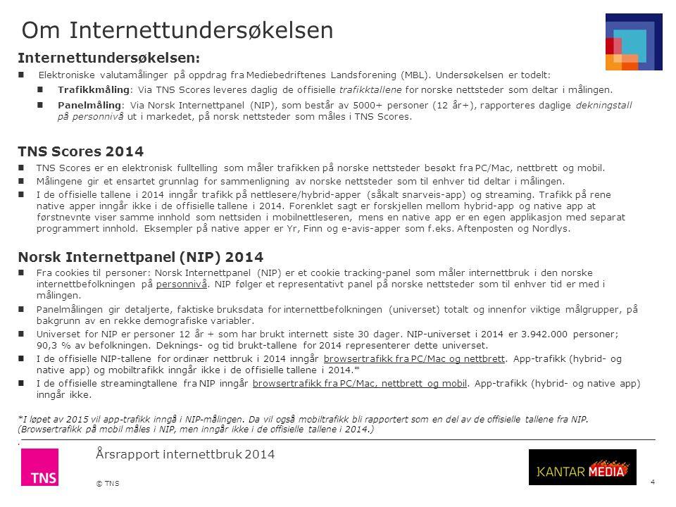 Årsrapport internettbruk 2014 © TNS Om Internettundersøkelsen 4 Internettundersøkelsen: Elektroniske valutamålinger på oppdrag fra Mediebedriftenes Landsforening (MBL).