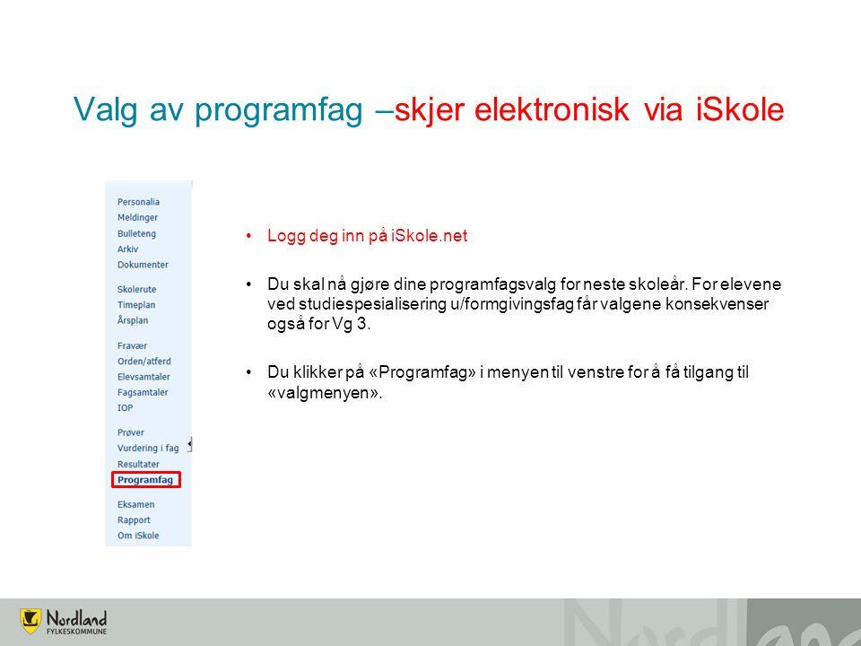 Valg av programfag –skjer elektronisk via iSkole Logg deg inn på iSkole.net Du skal nå gjøre dine programfagsvalg for neste skoleår.