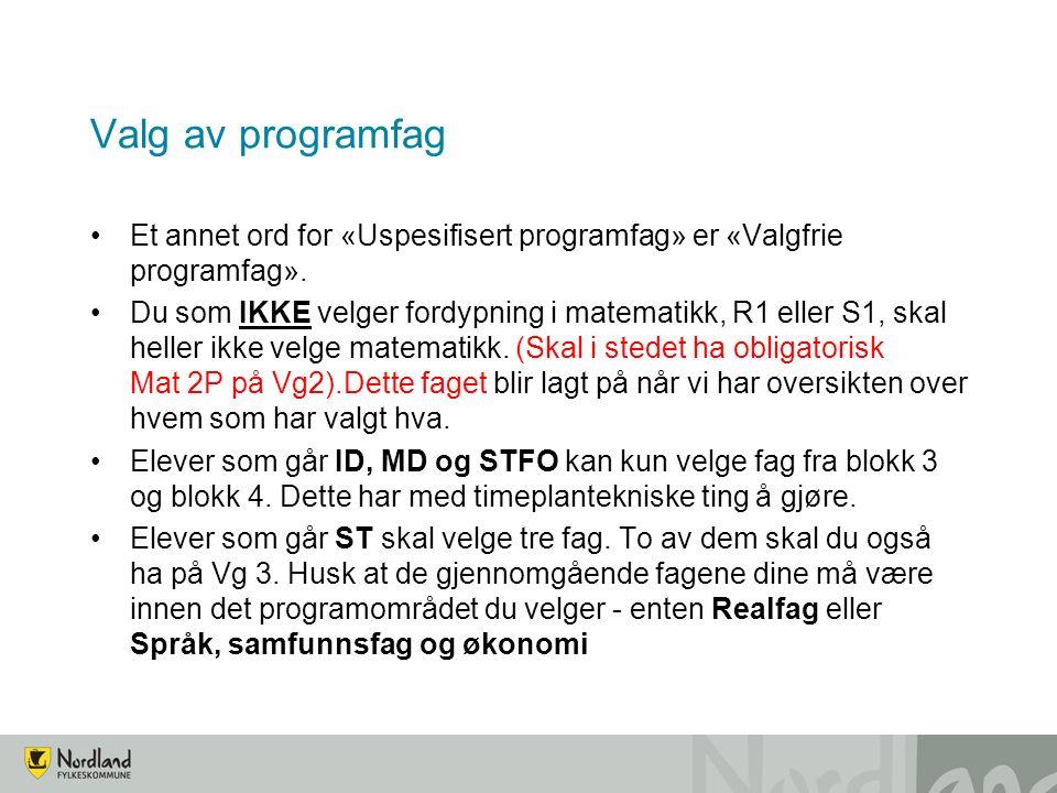 Valg av programfag Et annet ord for «Uspesifisert programfag» er «Valgfrie programfag».