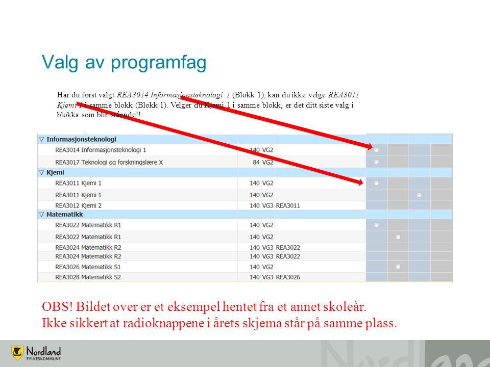 Valg av programfag Har du først valgt REA3014 Informasjonsteknologi 1 (Blokk 1), kan du ikke velge REA3011 Kjemi 1 i samme blokk (Blokk 1). Velger du
