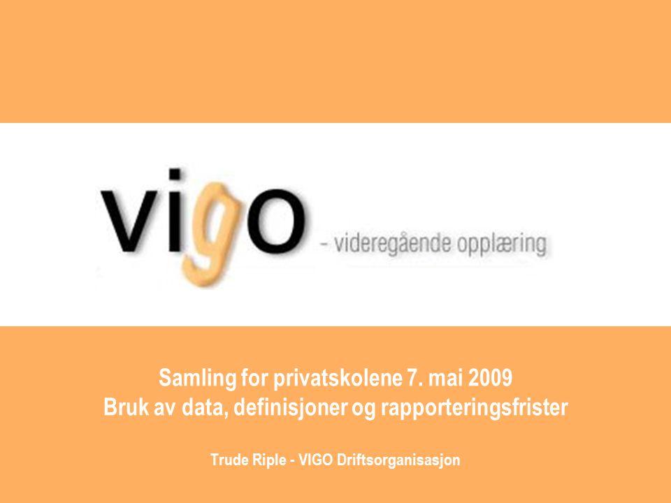 VIGO sentralbasen VIGO sentralbasen skal inneholde alle historikk for elever som går på videregående skoler (private og fylkes- kommunale).