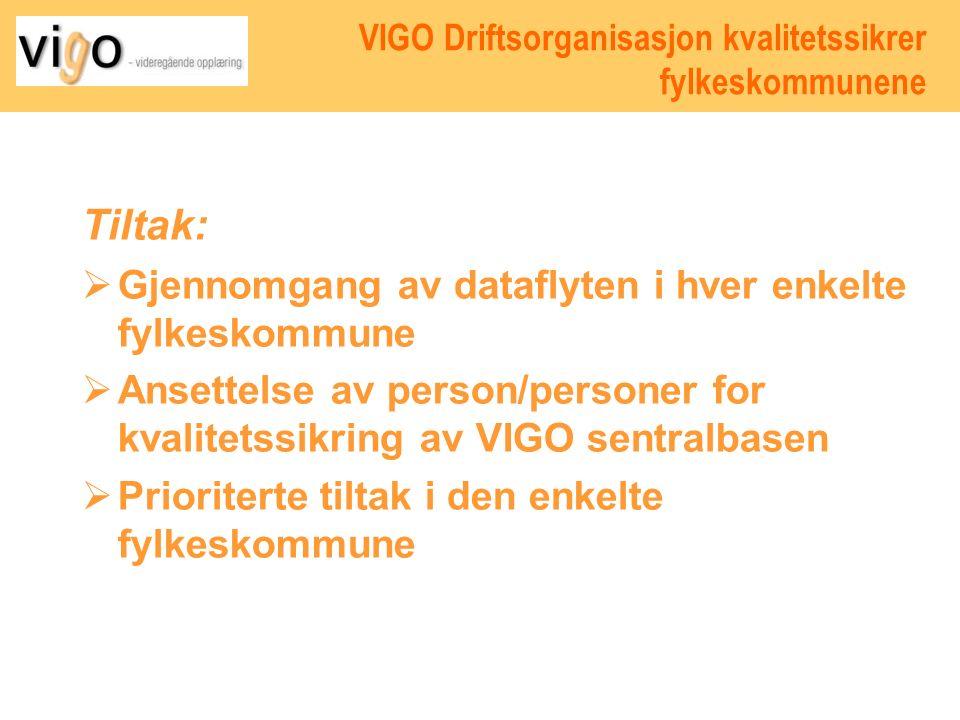 VIGO Driftsorganisasjon kvalitetssikrer fylkeskommunene Tiltak:  Gjennomgang av dataflyten i hver enkelte fylkeskommune  Ansettelse av person/personer for kvalitetssikring av VIGO sentralbasen  Prioriterte tiltak i den enkelte fylkeskommune