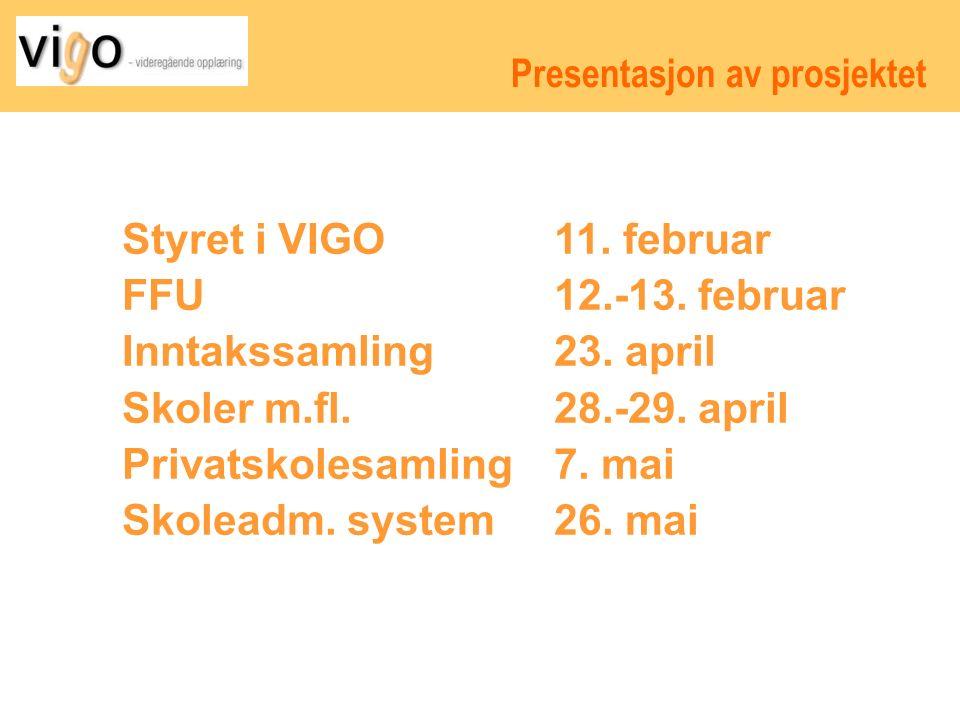 Presentasjon av prosjektet Styret i VIGO 11. februar FFU 12.-13.