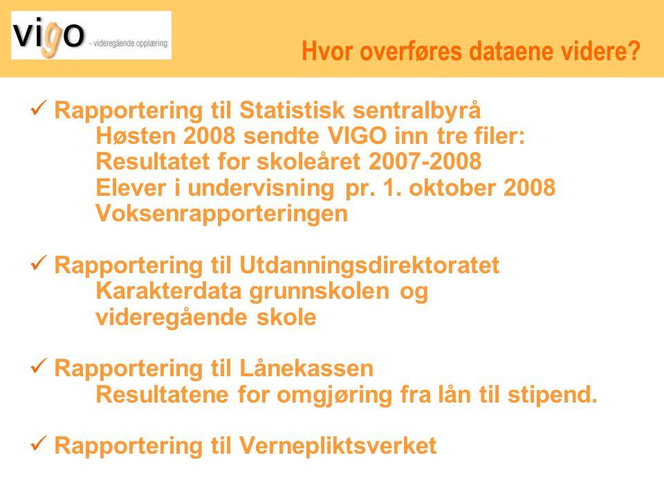 Eksport fra privatskolene til VIGO VIGO får følgende overføringer fra privatskolene skoleåret 2009-2010: 15.