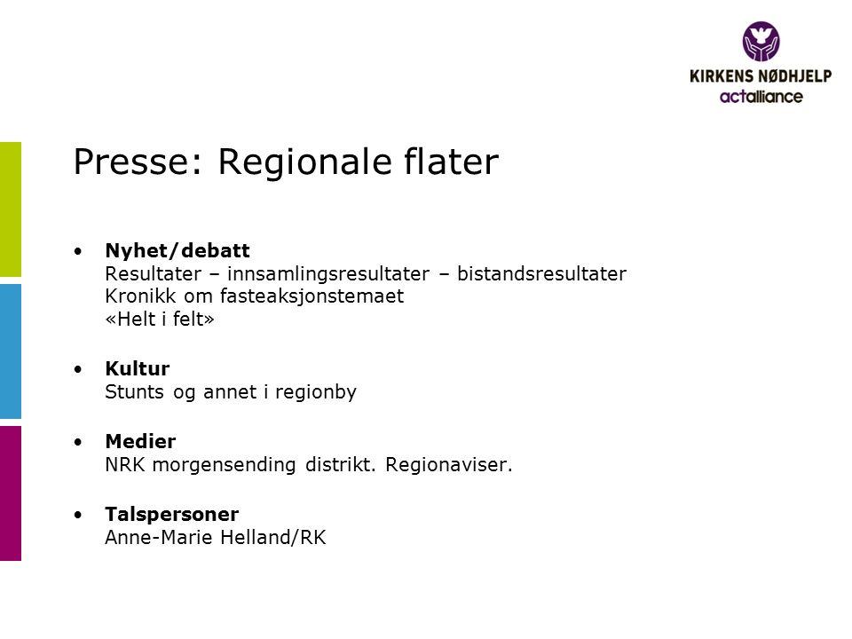 Presse: Regionale flater Nyhet/debatt Resultater – innsamlingsresultater – bistandsresultater Kronikk om fasteaksjonstemaet «Helt i felt» Kultur Stunt