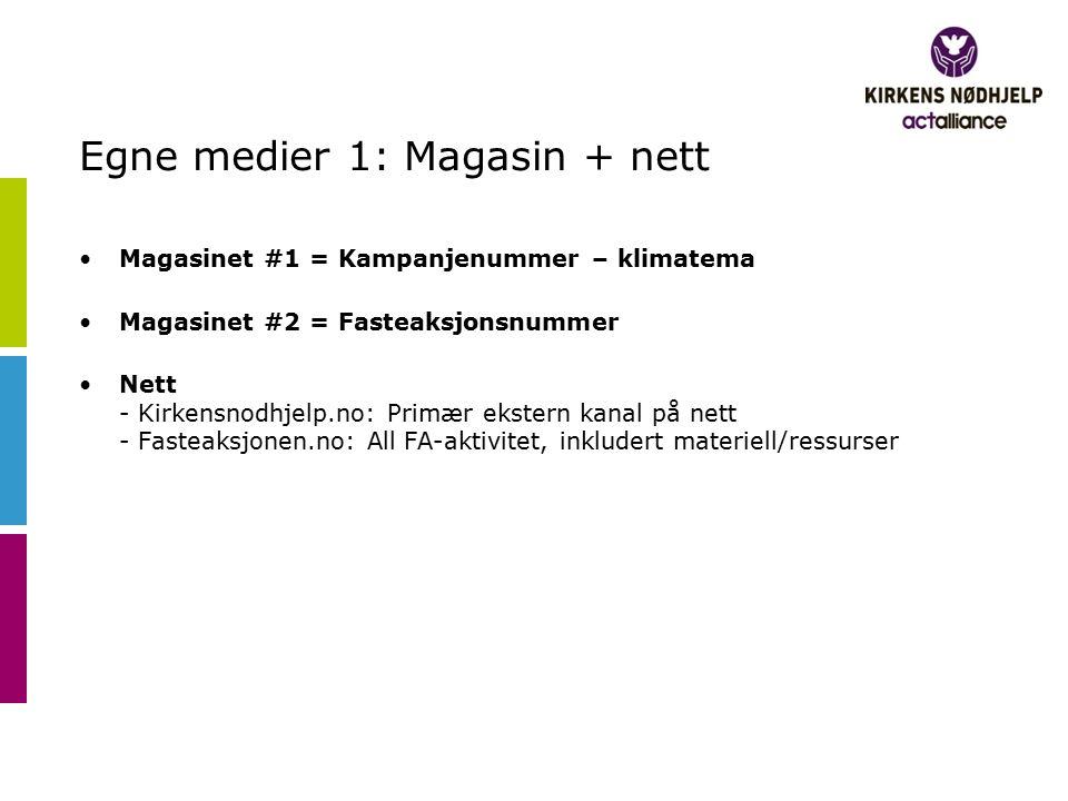 Egne medier 1: Magasin + nett Magasinet #1 = Kampanjenummer – klimatema Magasinet #2 = Fasteaksjonsnummer Nett - Kirkensnodhjelp.no: Primær ekstern kanal på nett - Fasteaksjonen.no: All FA-aktivitet, inkludert materiell/ressurser