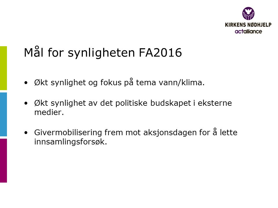 Mål for synligheten FA2016 Økt synlighet og fokus på tema vann/klima. Økt synlighet av det politiske budskapet i eksterne medier. Givermobilisering fr