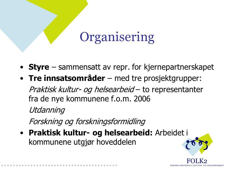 Organisering Styre – sammensatt av repr. for kjernepartnerskapet Tre innsatsområder – med tre prosjektgrupper: Praktisk kultur- og helsearbeid – to re