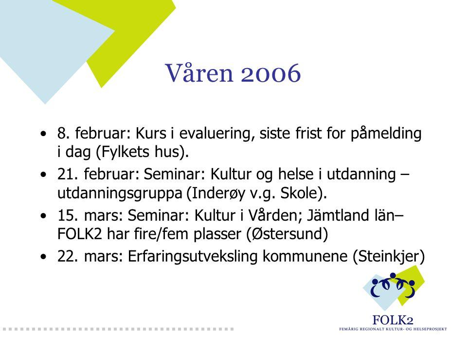 Våren 2006 8. februar: Kurs i evaluering, siste frist for påmelding i dag (Fylkets hus). 21. februar: Seminar: Kultur og helse i utdanning – utdanning