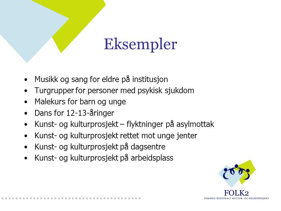 Eksempler Musikk og sang for eldre på institusjon Turgrupper for personer med psykisk sjukdom Malekurs for barn og unge Dans for 12-13-åringer Kunst-