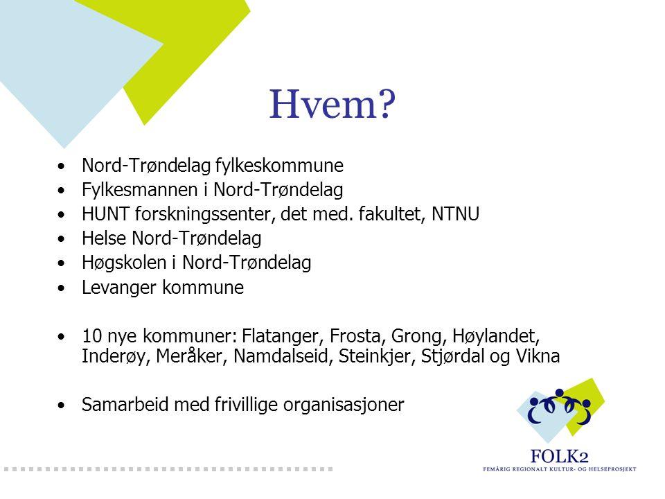 Hvem? Nord-Trøndelag fylkeskommune Fylkesmannen i Nord-Trøndelag HUNT forskningssenter, det med. fakultet, NTNU Helse Nord-Trøndelag Høgskolen i Nord-