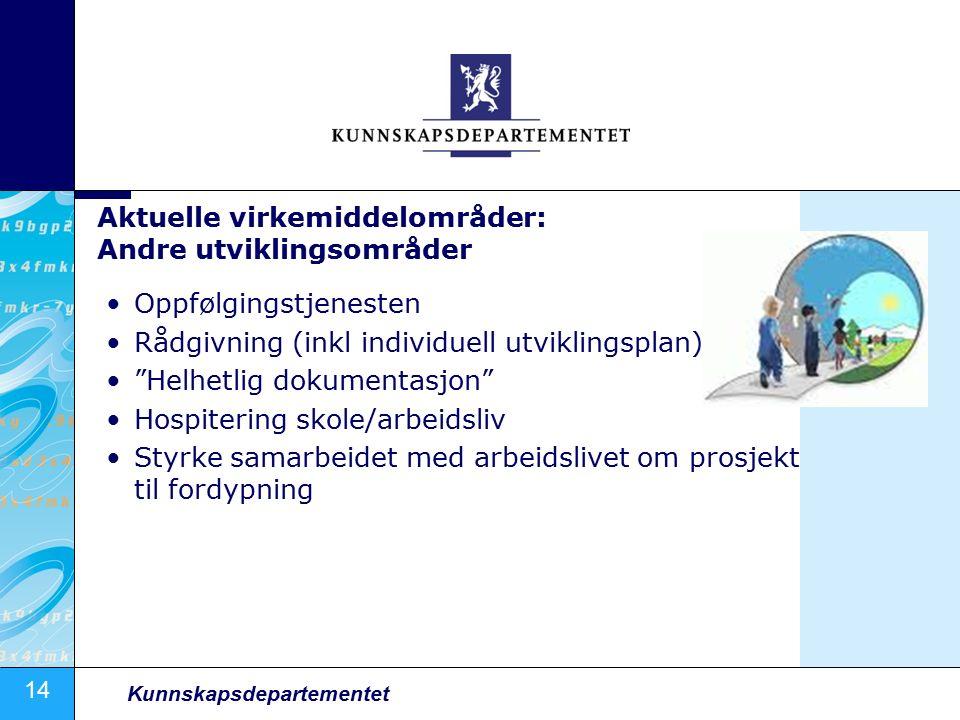 """14 Kunnskapsdepartementet Aktuelle virkemiddelområder: Andre utviklingsområder Oppfølgingstjenesten Rådgivning (inkl individuell utviklingsplan) """"Helh"""