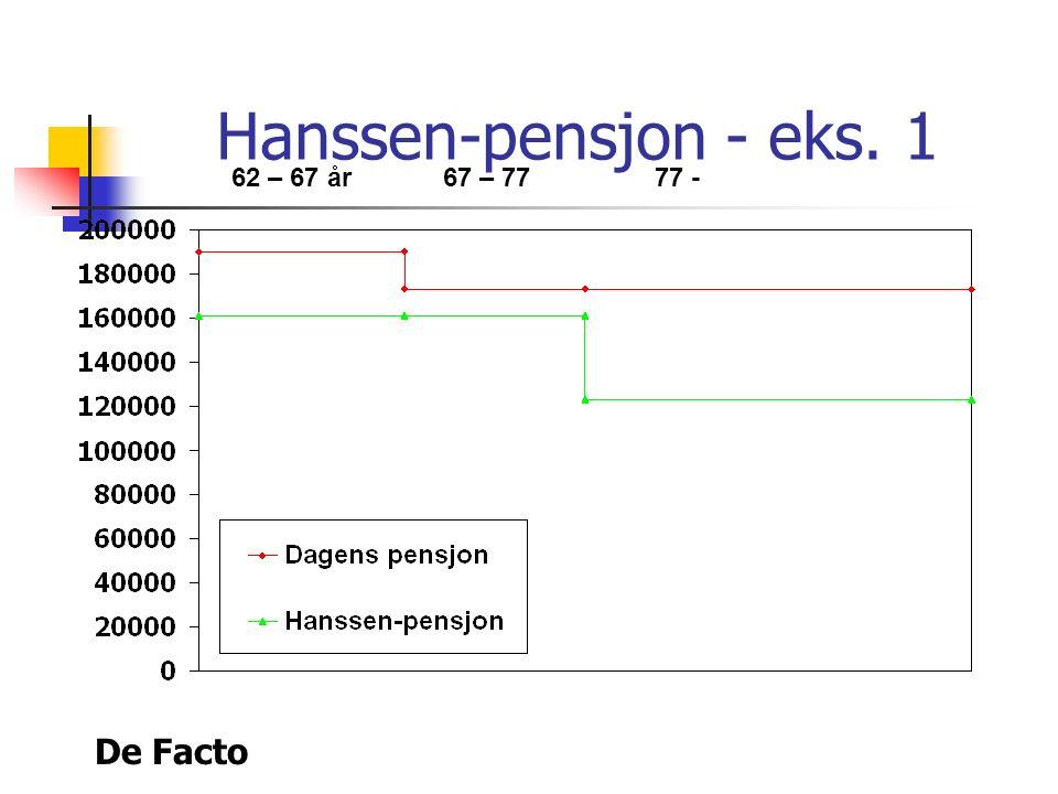 De Facto Hanssen-pensjon - eks. 1 62 – 67 år67 – 7777 -