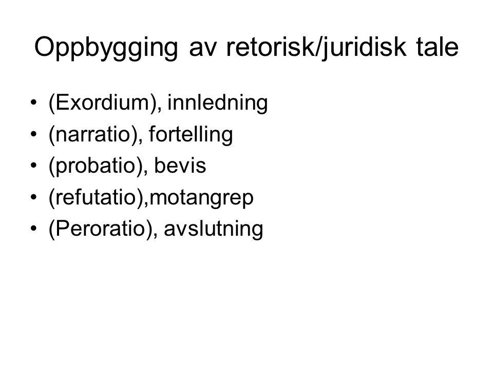 Oppbygging av retorisk/juridisk tale (Exordium), innledning (narratio), fortelling (probatio), bevis (refutatio),motangrep (Peroratio), avslutning