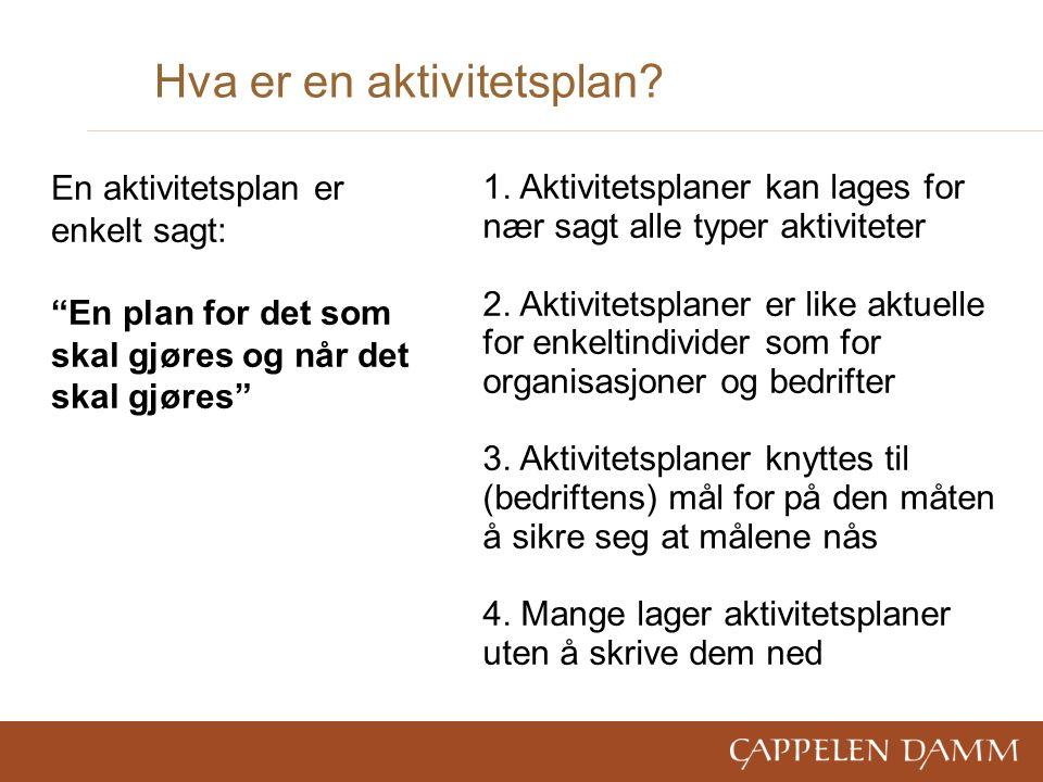 Hva er en aktivitetsplan. 1. Aktivitetsplaner kan lages for nær sagt alle typer aktiviteter 2.