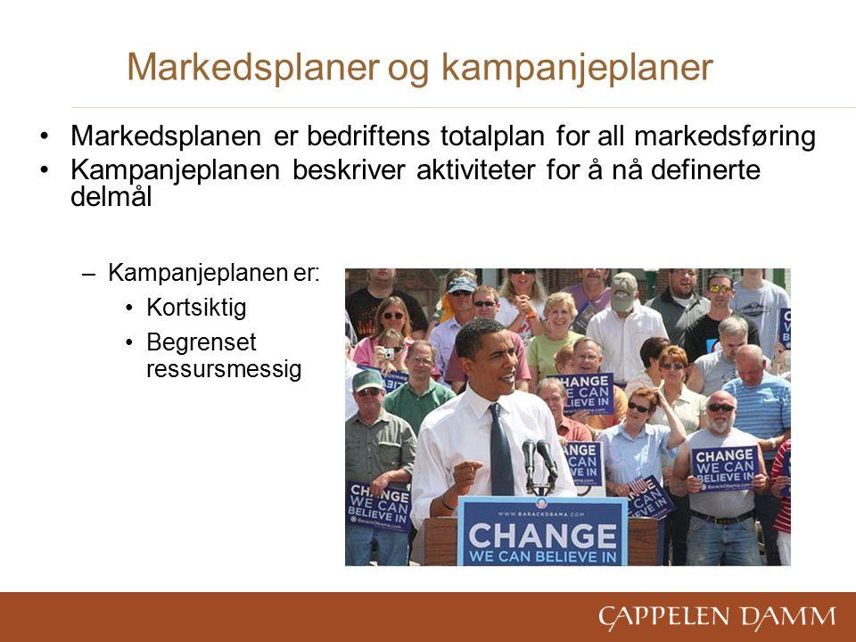 Markedsplaner og kampanjeplaner Markedsplanen er bedriftens totalplan for all markedsføring Kampanjeplanen beskriver aktiviteter for å nå definerte delmål –Kampanjeplanen er: Kortsiktig Begrenset ressursmessig