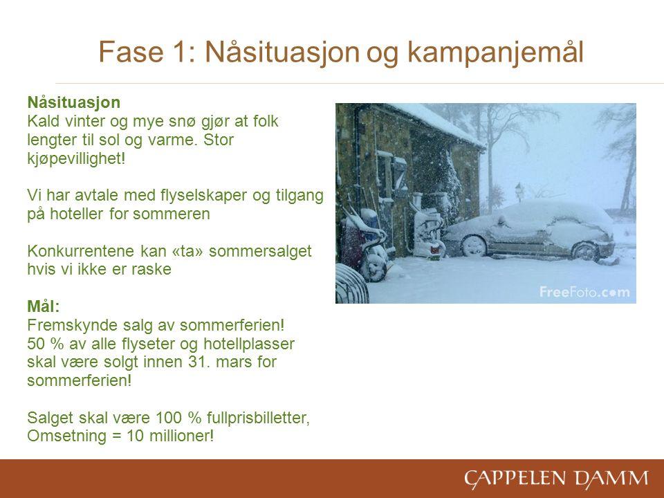 Fase 1: Nåsituasjon og kampanjemål Nåsituasjon Kald vinter og mye snø gjør at folk lengter til sol og varme.