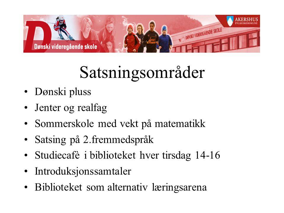 Satsningsområder Dønski pluss Jenter og realfag Sommerskole med vekt på matematikk Satsing på 2.fremmedspråk Studiecafè i biblioteket hver tirsdag 14-16 Introduksjonssamtaler Biblioteket som alternativ læringsarena