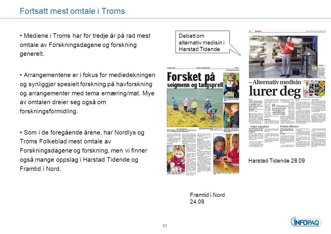 Fortsatt mest omtale i Troms Mediene i Troms har for tredje år på rad mest omtale av Forskningsdagene og forskning generelt.