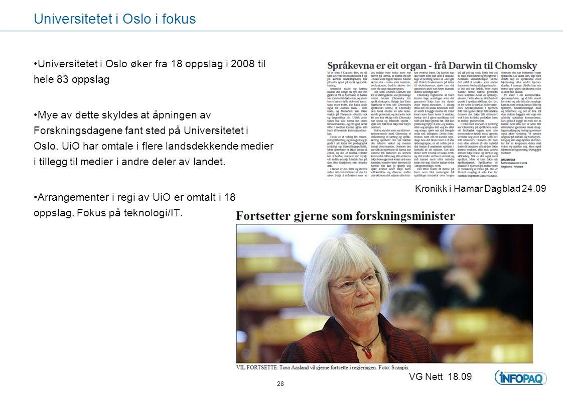 Universitetet i Oslo i fokus Universitetet i Oslo øker fra 18 oppslag i 2008 til hele 83 oppslag Mye av dette skyldes at åpningen av Forskningsdagene fant sted på Universitetet i Oslo.