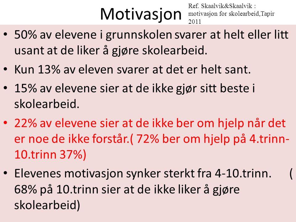Motivasjon 50% av elevene i grunnskolen svarer at helt eller litt usant at de liker å gjøre skolearbeid.