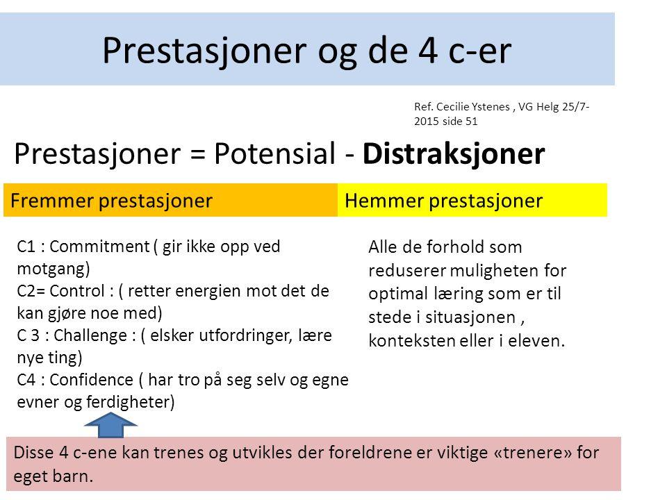 Prestasjoner og de 4 c-er Prestasjoner = Potensial - Distraksjoner C1 : Commitment ( gir ikke opp ved motgang) C2= Control : ( retter energien mot det