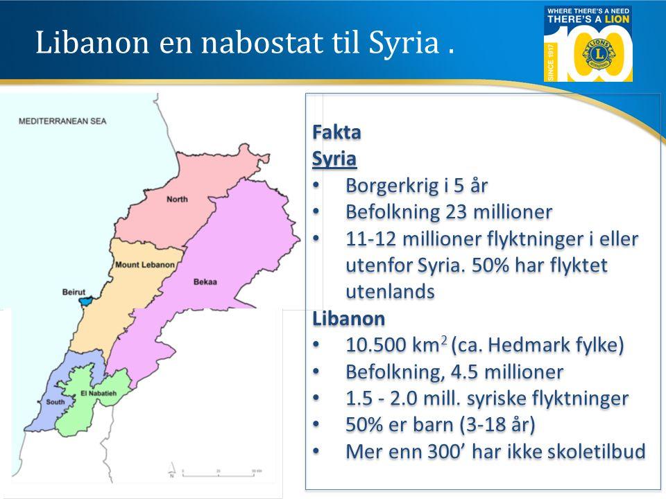 Libanon en nabostat til Syria. Fakta Syria Borgerkrig i 5 år Befolkning 23 millioner 11-12 millioner flyktninger i eller utenfor Syria. 50% har flykte