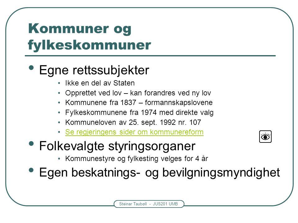 Steinar Taubøll - JUS201 UMB Kommuner og fylkeskommuner Egne rettssubjekter Ikke en del av Staten Opprettet ved lov – kan forandres ved ny lov Kommunene fra 1837 – formannskapslovene Fylkeskommunene fra 1974 med direkte valg Kommuneloven av 25.
