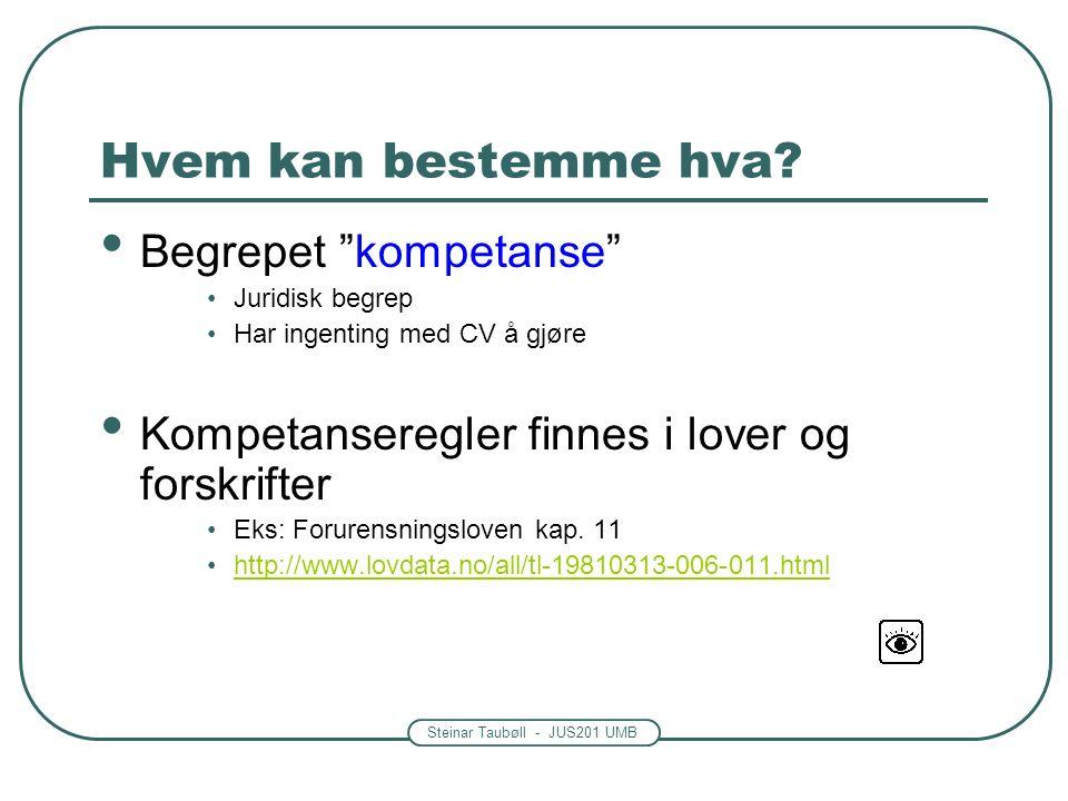 """Steinar Taubøll - JUS201 UMB Hvem kan bestemme hva? Begrepet """"kompetanse"""" Juridisk begrep Har ingenting med CV å gjøre Kompetanseregler finnes i lover"""