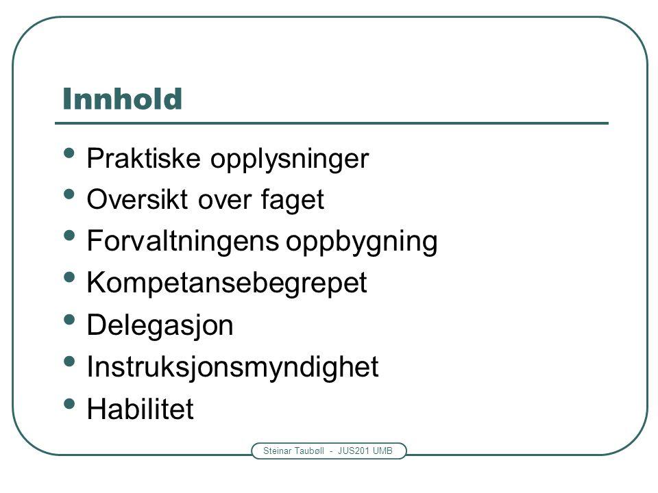 Steinar Taubøll - JUS201 UMB Instruksjonsmyndighet Regjeringen -Kan instruere lavere organer Men det finnes noen få unntak – Eks: Trygderetten og Datatilsynet Departementer, direktorater osv.