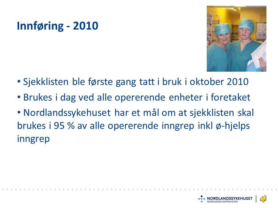 Innføring - 2010 Sjekklisten ble første gang tatt i bruk i oktober 2010 Brukes i dag ved alle opererende enheter i foretaket Nordlandssykehuset har et mål om at sjekklisten skal brukes i 95 % av alle opererende inngrep inkl ø-hjelps inngrep