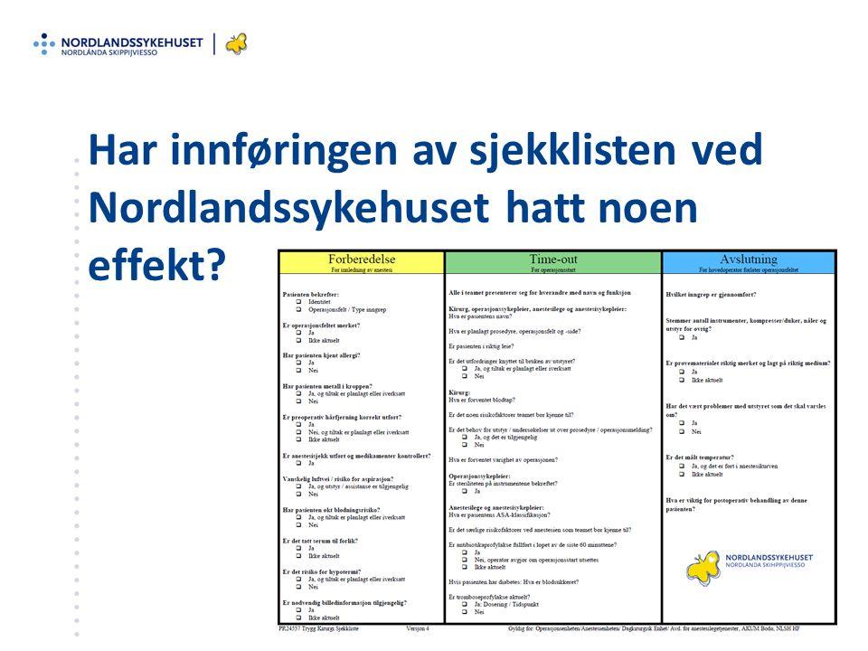 Har innføringen av sjekklisten ved Nordlandssykehuset hatt noen effekt?