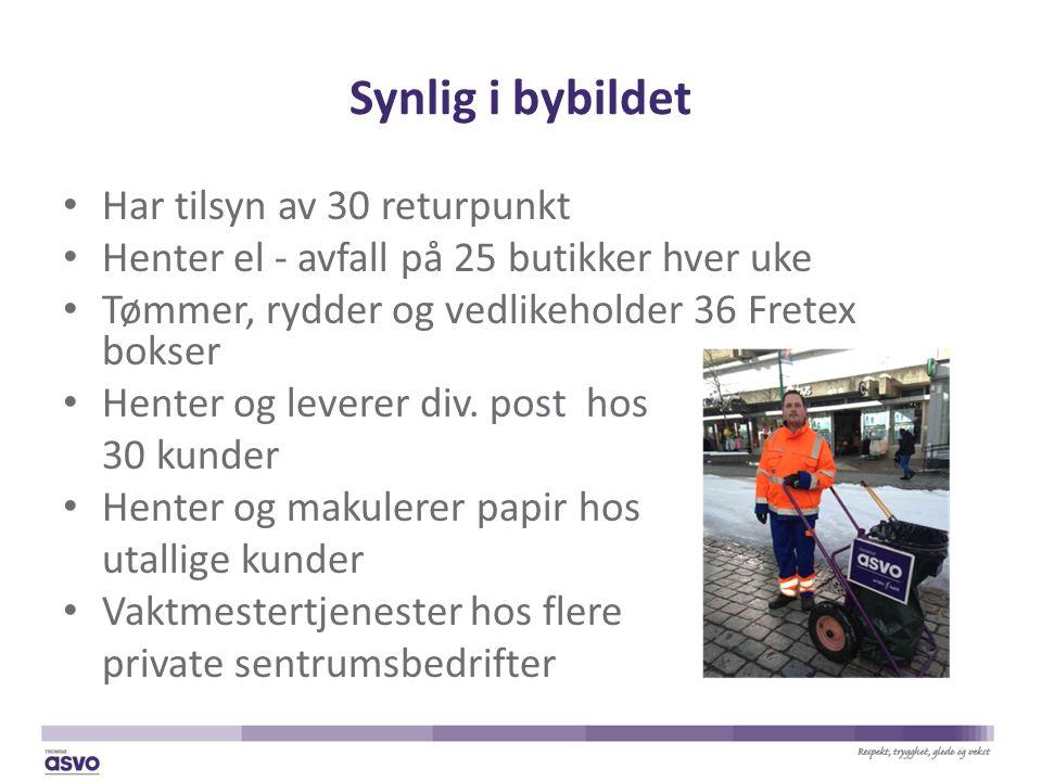 Synlig i bybildet Har tilsyn av 30 returpunkt Henter el - avfall på 25 butikker hver uke Tømmer, rydder og vedlikeholder 36 Fretex bokser Henter og leverer div.