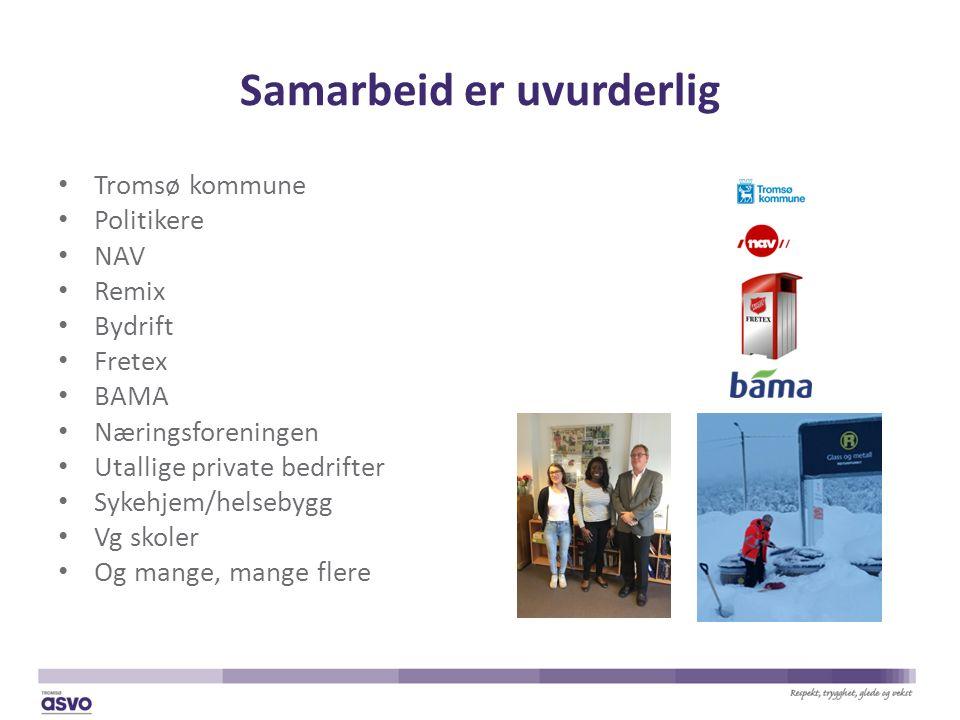 Samarbeid er uvurderlig Tromsø kommune Politikere NAV Remix Bydrift Fretex BAMA Næringsforeningen Utallige private bedrifter Sykehjem/helsebygg Vg skoler Og mange, mange flere