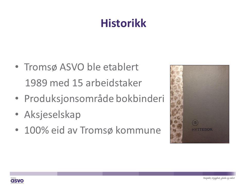 Historikk Tromsø ASVO ble etablert 1989 med 15 arbeidstaker Produksjonsområde bokbinderi Aksjeselskap 100% eid av Tromsø kommune