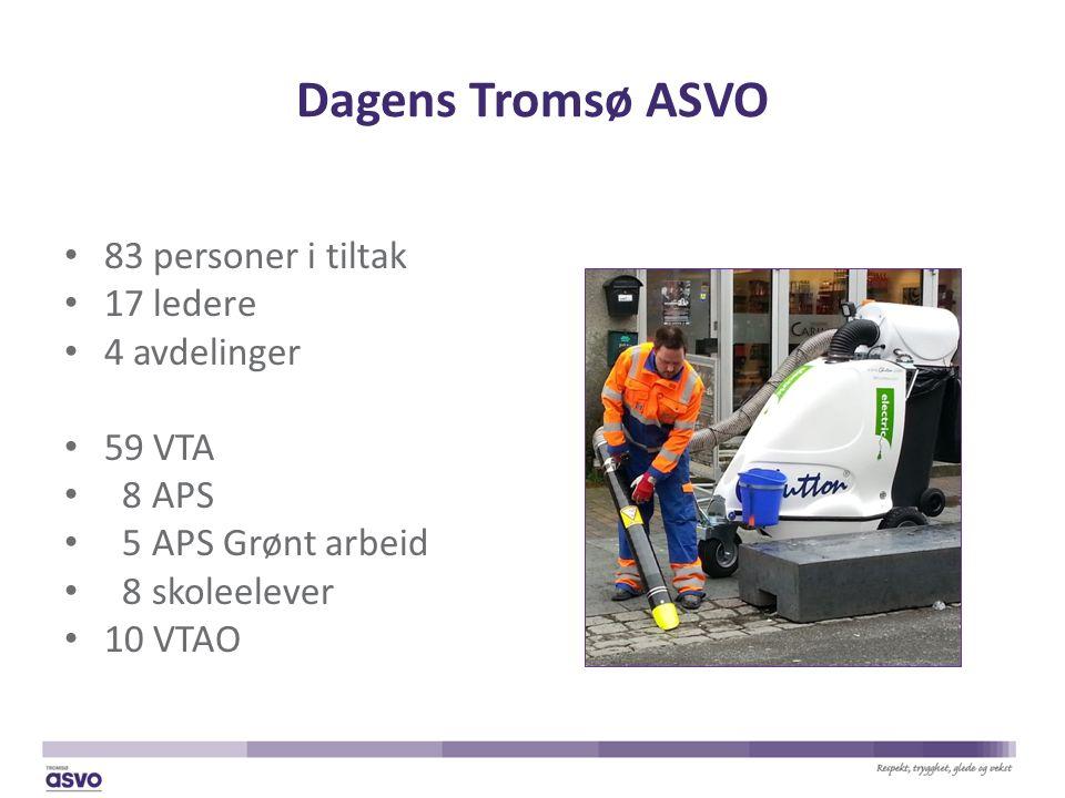 Dagens Tromsø ASVO 83 personer i tiltak 17 ledere 4 avdelinger 59 VTA 8 APS 5 APS Grønt arbeid 8 skoleelever 10 VTAO