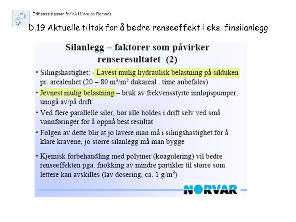 Driftsassistansen for VA i Møre og Romsdal D.19 Aktuelle tiltak for å bedre renseeffekt i eks.