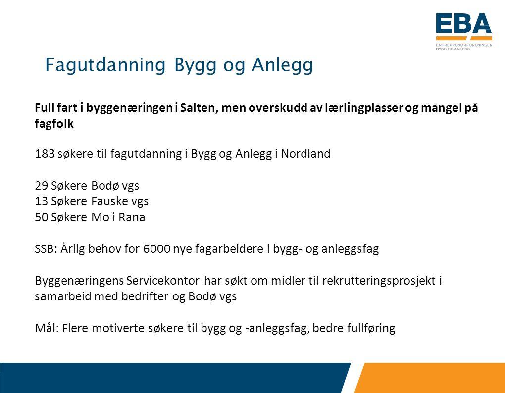Fagutdanning Bygg og Anlegg Full fart i byggenæringen i Salten, men overskudd av lærlingplasser og mangel på fagfolk 183 søkere til fagutdanning i Byg