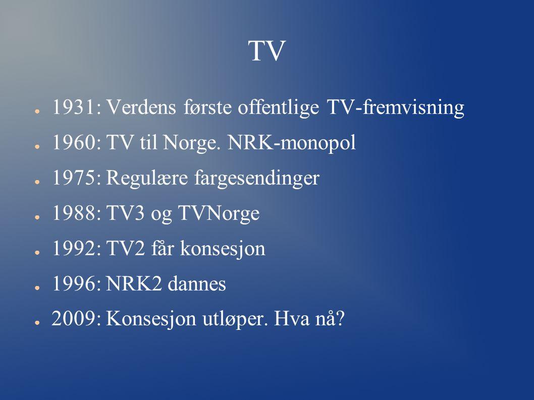 TV ● 1931: Verdens første offentlige TV-fremvisning ● 1960: TV til Norge.