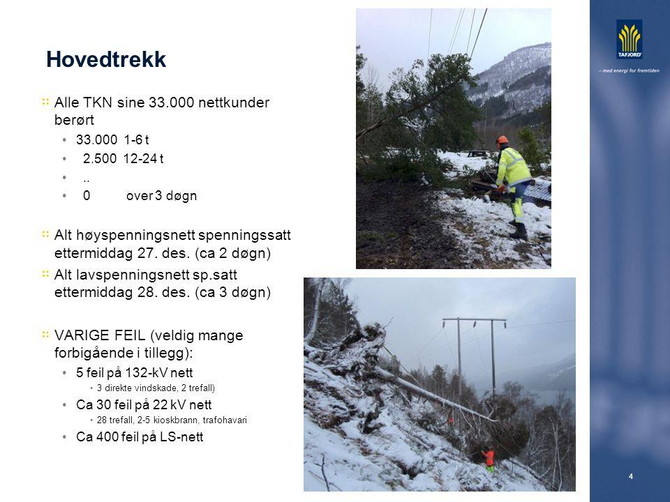 4 Hovedtrekk Alle TKN sine 33.000 nettkunder berørt 33.000 1-6 t 2.500 12-24 t.. 0 over 3 døgn Alt høyspenningsnett spenningssatt ettermiddag 27. des.