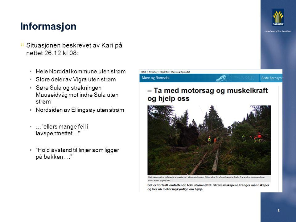 8 Informasjon Situasjonen beskrevet av Kari på nettet 26.12 kl 08: Hele Norddal kommune uten strøm Store deler av Vigra uten strøm Søre Sula og strekn