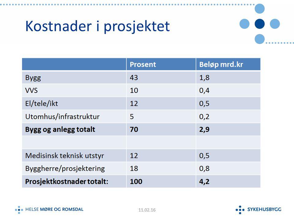 Kostnader i prosjektet 11.02.16