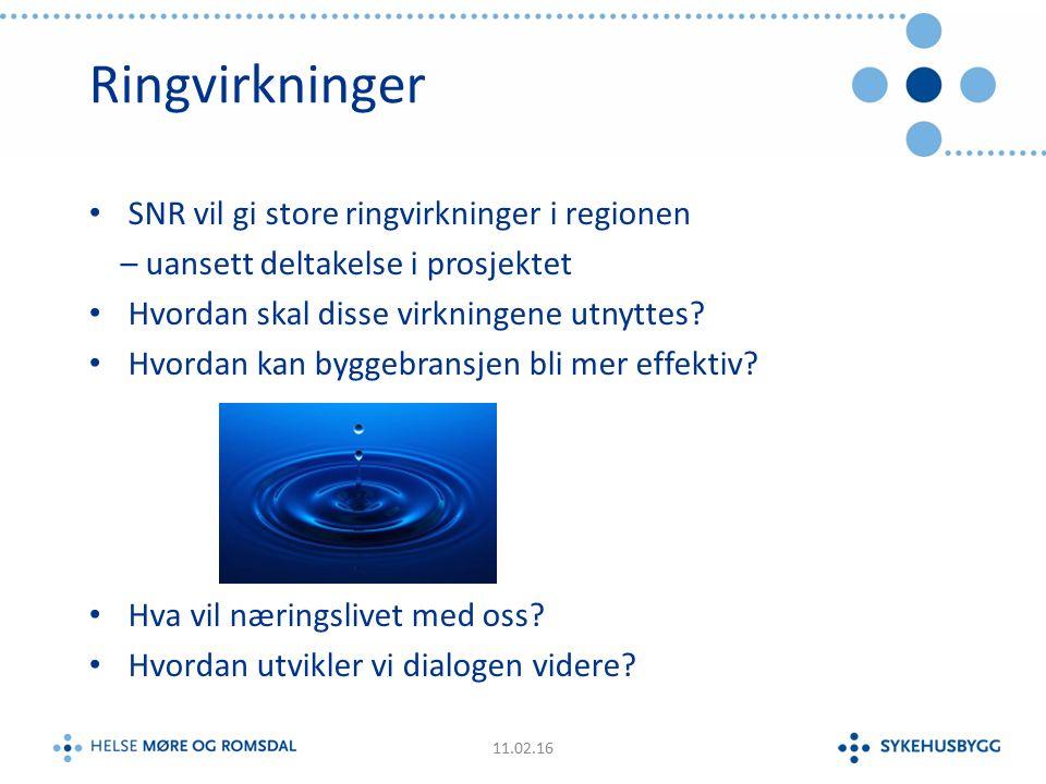 Ringvirkninger SNR vil gi store ringvirkninger i regionen – uansett deltakelse i prosjektet Hvordan skal disse virkningene utnyttes.